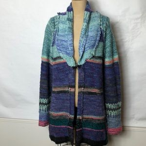 Free people patchwork knitted cardigan sweater